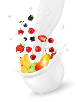 Kleurrijk vers fruit dat in de melkplons valt. vector illustratie