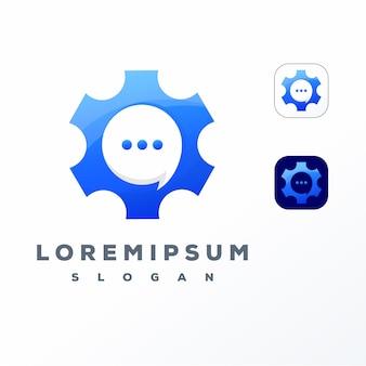 Kleurrijk versnelling chat logo ontwerp