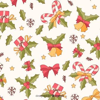 Kleurrijk vintage kerstpatroon
