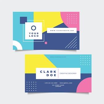 Kleurrijk visitekaartje in de stijl van memphis