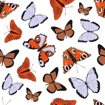 Kleurrijk vlak beeldverhaal naadloos patroon met verschillende vlinders op wit