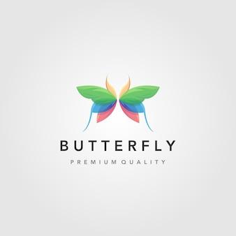 Kleurrijk vliegend vlinderembleem