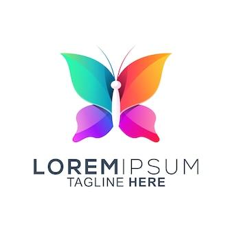 Kleurrijk vlinder logo-ontwerp