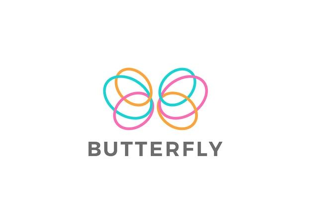 Kleurrijk vlinderlogo. lineaire stijl.
