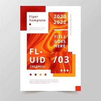 Kleurrijk vloeistofeffect flyer vlammen ontwerp
