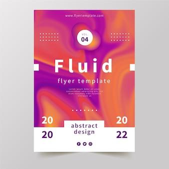 Kleurrijk vloeistofeffect poster en memphis ontwerp
