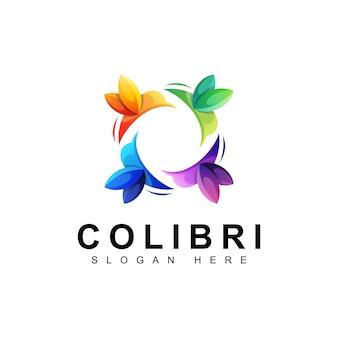 Kleurrijk vogel colibri logo, kolibrie logo ontwerpsjabloon