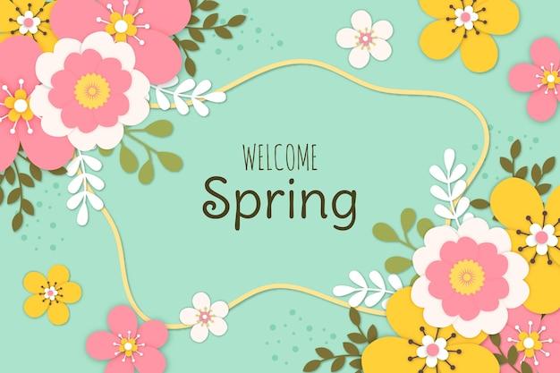 Kleurrijk voorjaarsbehang in papieren stijl