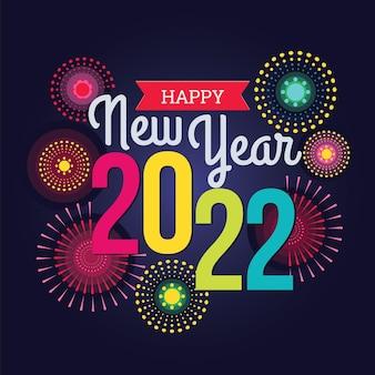 Kleurrijk vuurwerk 2022 nieuwjaar vectorillustratie helder op donkerblauwe achtergrond
