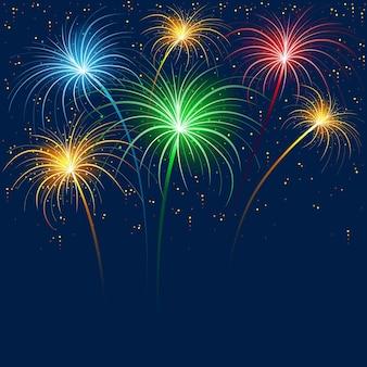 Kleurrijk vuurwerk dat barst in een nachtelijke hemel