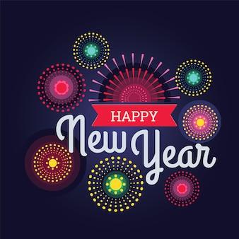 Kleurrijk vuurwerk gelukkig nieuwjaar vectorillustratie helder op een donkerblauwe achtergrond