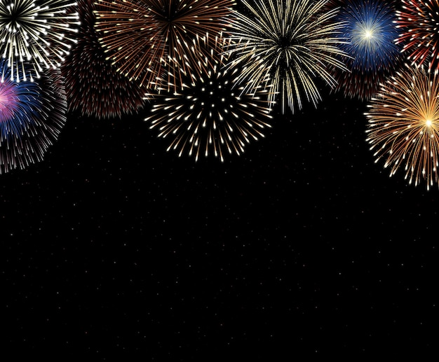 Kleurrijk vuurwerk op de achtergrond van de nachthemel