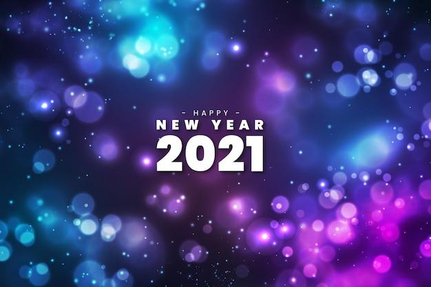 Kleurrijk wazig gelukkig nieuw jaar 2021