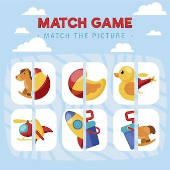 Kleurrijk wedstrijdspel met schattige elementencollectie