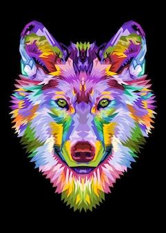 Kleurrijk wolfshoofd op pop-artstijl. illustratie.