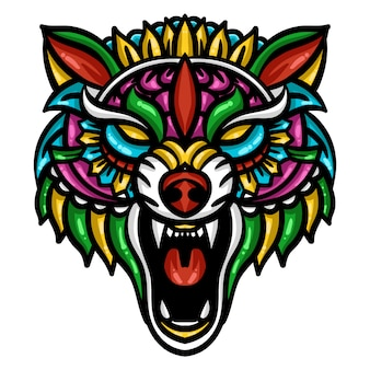 Kleurrijk wolfshoofd