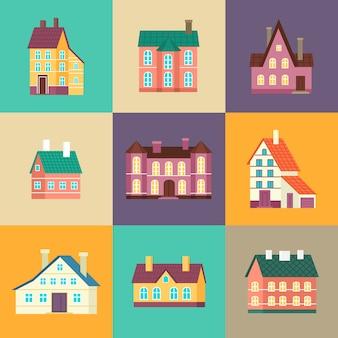 Kleurrijk woonhuis in plat ontwerp