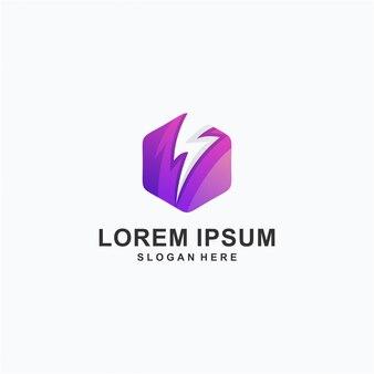 Kleurrijk zeshoek elektrisch logo ontwerp