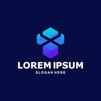 Kleurrijk zeshoekig abstract logo premium