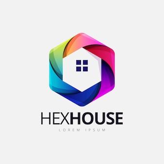 Kleurrijk zeshoekig huis vorm logo