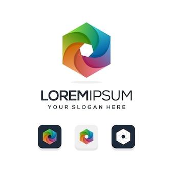 Kleurrijk zeshoekig logo