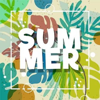 Kleurrijk zomerbehang met gebladerte
