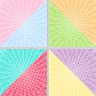 Kleurrijke 2 tonenachtergrond met halftone en zonlichteffect achtergrondbanner