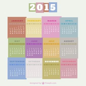 Kleurrijke 2015 kalender gratis vector