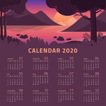Kleurrijke 2020-kalendersjabloon met prachtig landschap