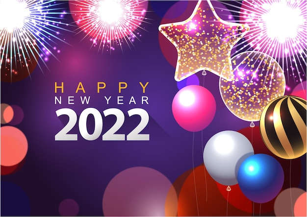 Kleurrijke 2022 nieuwjaar vectorillustratie helder op een donkerblauwe achtergrond tekst happy new year