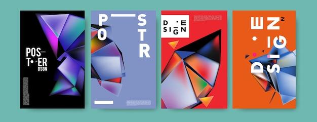 Kleurrijke 3d-abstracte geometrische driehoek poster