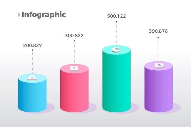 Kleurrijke 3d bars infographic