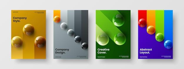 Kleurrijke 3d bollen pamflet illustratie bundel