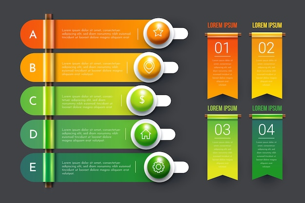 Kleurrijke 3d glanzende infographic