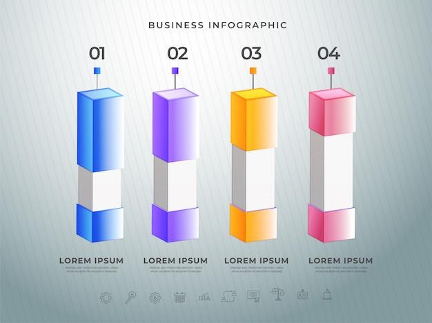 Kleurrijke 3d-infographic balk met uw stapnummers