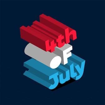 Kleurrijke 3d-tekst 4e juli op blauwe achtergrond voor happy indepe