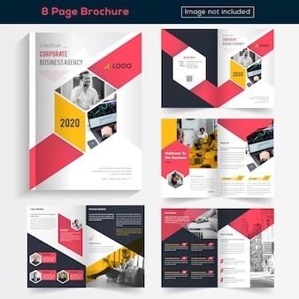 Kleurrijke 8 pagina's brochureontwerp voor het bedrijfsleven