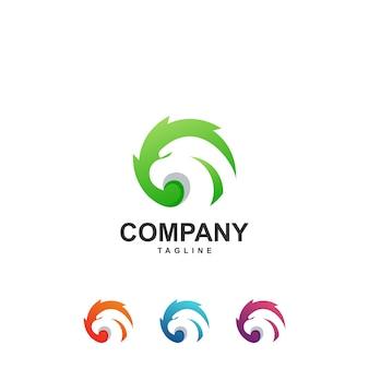 Kleurrijke abstracte adelaar logo premium