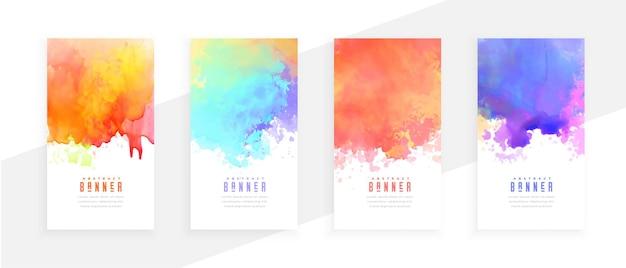 Kleurrijke abstracte aquarel splatters set