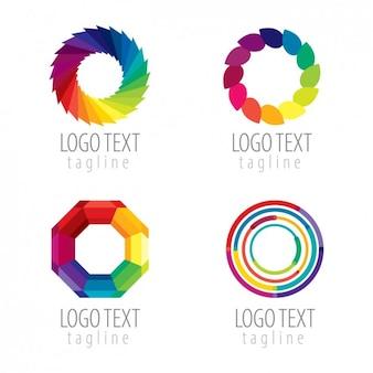 Kleurrijke abstracte cirkels logo pack