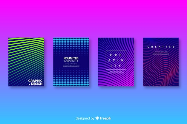 Kleurrijke abstracte covers collectie