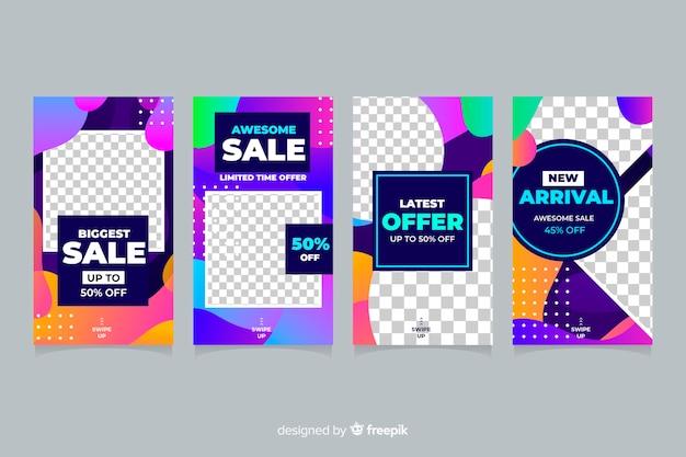 Kleurrijke abstracte de verhaleninzameling van verkoop instagram