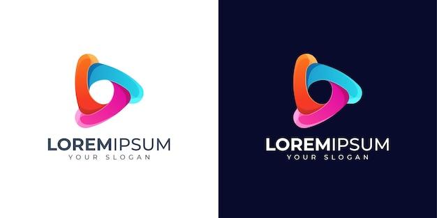 Kleurrijke abstracte driehoek en media logo ontwerp illustratie