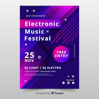 Kleurrijke abstracte elektronische muziek poster sjabloon