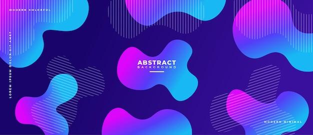 Kleurrijke abstracte geometrische banner vloeistof vormt compositie.