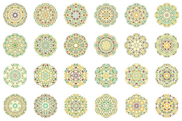 Kleurrijke abstracte geometrische bloem mandala logo set