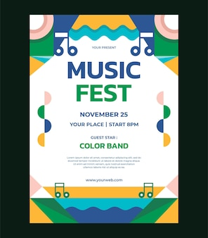 Kleurrijke abstracte geometrische muziekfestival poster vector sjabloon