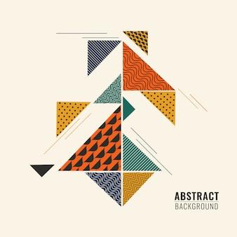 Kleurrijke abstracte geometrische vorm driehoekige verschillende patronen in vlakke stijl.