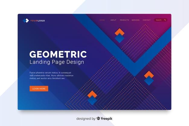Kleurrijke abstracte geometrische vormen die pagina landen
