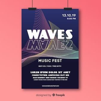 Kleurrijke abstracte golven muziek poster
